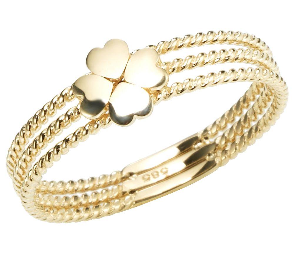 goldrausch gold 585 ring kleeblatt — qvc.de, Badezimmer ideen