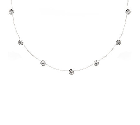 DIAMONIQUE® = 3,50ct Brillantschliff Collier Silber rhodiniert