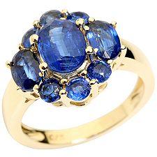 Kyanit aus Nepal Schliffmix ca.3,86ct. Krappenfassungen Entourage-Ring Gold 375
