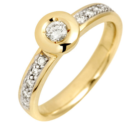 11 Brillanten zus.ca.0,30ct. get.Weiß/lupenrein Ring Gold 585