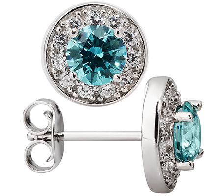 DIAMONIQUE® CARIBBEAN BLUE = 2,24ct Ohrstecker Silber rhodiniert