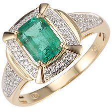 Sambia Smaragd 0,90ct 50 Brill.0,15ct Ring Gold 585