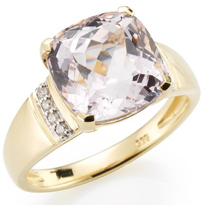 Galileia Kunzit 4,55ct 8 Brillanten 0,05ct Ring Gold 585