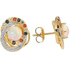 Afrikanischer Opal 1,00ct Edelsteine 0,40ct Ohrstecker Silber vergoldet