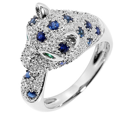 Saphir 0,72ct Smaragd 0,03ct 0,75ct. Panther-Ring Silber 925,rhodiniert