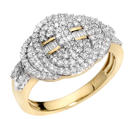GLAMOUR DIAMONDS 124 Diamanten zus.ca.0,50ct. Weiß/P1 Ring, Gold 333