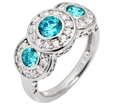 DIAMONIQUE® CARIBBEAN BLUE 29 Steine =1,26ct. Entourage-Ring Silber 925,rhodiniert