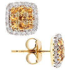 Spessartin facettiert 0,52ct. Diamanten 0,15ct. Ohrstecker Gold 585