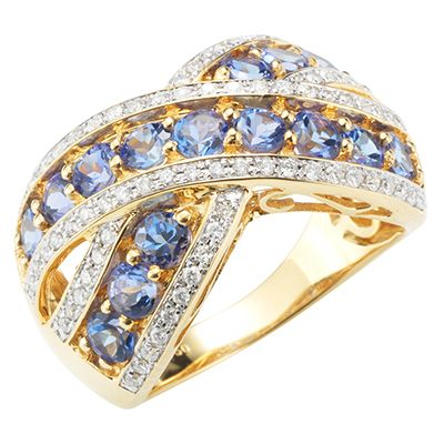 1st Class Tansanit AAA / 1,35ct 76 Brill. 0,34ct Croisé-Ring Gold 750