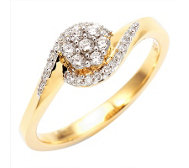 FIRST DIAMOND Blütenring 31 Diamanten zus. ca. 0,20ct Gold 375