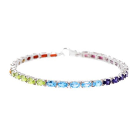Multicolor Oval facettiert 7,39ct. / 19cm Armband Silber 925,rhodiniert