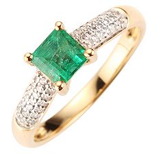 Sambia Smaragd 0,61ct 38 Dia. 0,13ct Ring Gold 585
