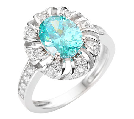 DIAMONIQUE®® CARIBBEAN BLUE 33 Steine =2,36ct. Cocktail-Ring Silber 925,rhodiniert