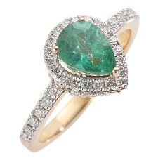Sambia Smaragd Tropfen 1,30ct 56 Brill. 0,51ct Ring Gold 750