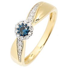 FIRST DIAMOND 19 Dia. W/P1-2 zus.ca.0,25ct Ring Gold 375