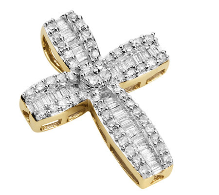 GLAMOUR DIAMONDS 94 Diamanten zus.ca.0,50ct. Kreuz-Anhänger Gold 333