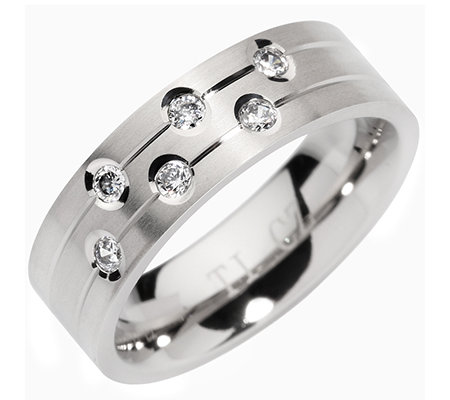 DIAMONIQUE® TITAN = 0,30ct Band-Ring poliert/mattiert