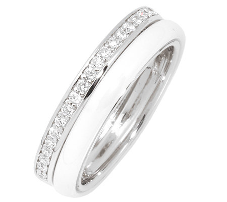 DIAMONIQUE® = 0,10ct Brillantschliff Eternity-Ring Silber rhodiniert