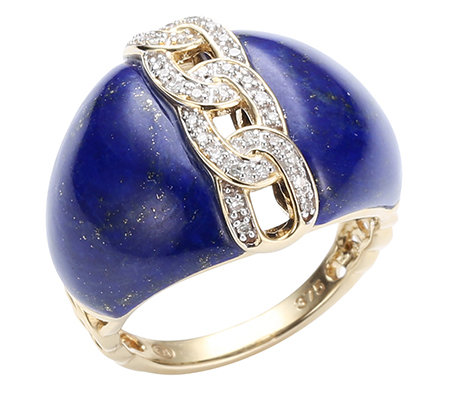 Golden Lapislazuli Spezialschliff 34 Diamanten 0,10ct. Ring Gold 375