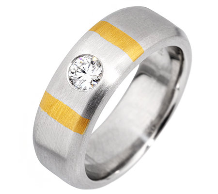 1 Brillant ca. 0,25ct Weiß/SI Solitär-Ring Platin950/Gold999