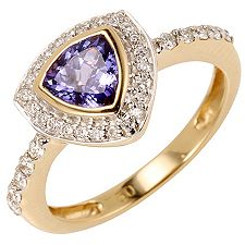 1st Class Tansanit AAAA / 0,88ct 34 Brill. 0,27ct Ring Gold 750
