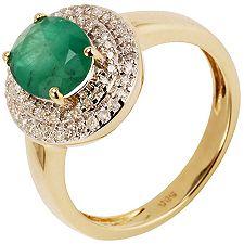 Sambia Smaragd Ovalschliff 1,50ct 60 Brill. 0,27ct Entourage-Ring Gold 585