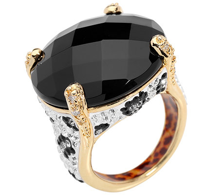 SIGAL STYLE Cocktail-Ring Onyx Kristalle vergoldet