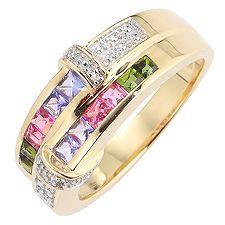 VIVA LAS VEGAS multicolor zus.ca.0,90ct Ring Gold 375