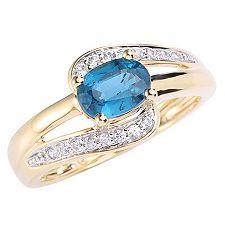 Jhilli Kyanit oval 1,00ct Zirkon 0,16ct Ring Gold 585