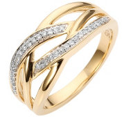 FIRST DIAMOND Ring 34 Diamanten zus.ca.0,10ct Gold 375