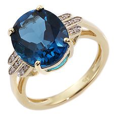 ITINGA Topas Londonblue 4,75ct 14 Dia. 0,04ct Ring Gold 375