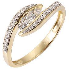 FIRST DIAMOND 29 Diamanten W/P1 zus.ca.0,25ct Ring Gold 375