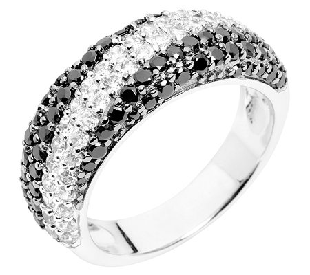 DIAMONIQUE Pavé-Ring 104 Steine =0,99ct. black & white Silber 925,rhodiniert