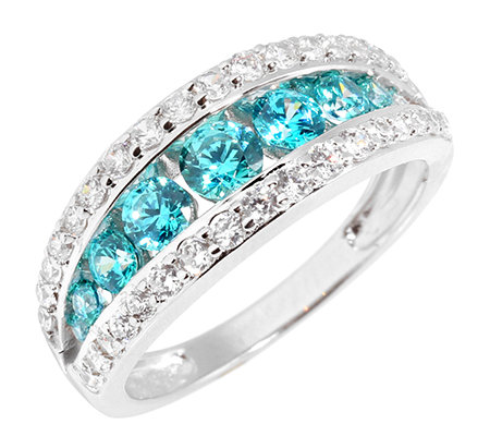 DIAMONIQUE® CARIBBEAN BLUE = 1,37ct Rivière-Ring Silber rhodiniert