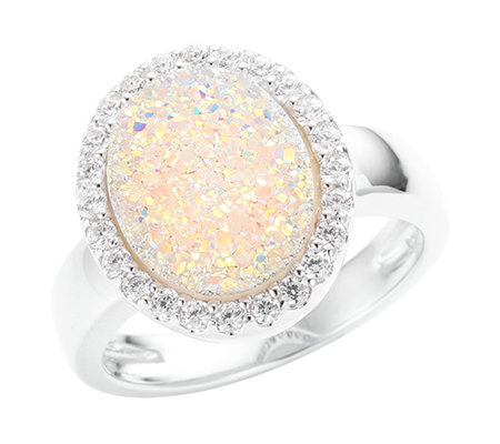 DIAMONIQUE® = 0,24ct Schliffmix Entourage-Ring Silber rhodiniert