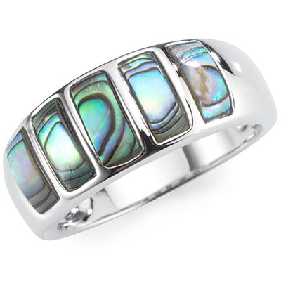 Abalone 5 Freiform-Inlays poliert Ring Silber 925