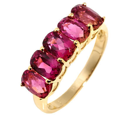 Turmalin 2,25ct. Pink Kissenschliff Rivière-Ring Gold 375