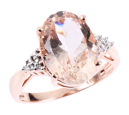 Morganit AAA/5,00ct 12 Brill.0,04ct Ring Roségold 585