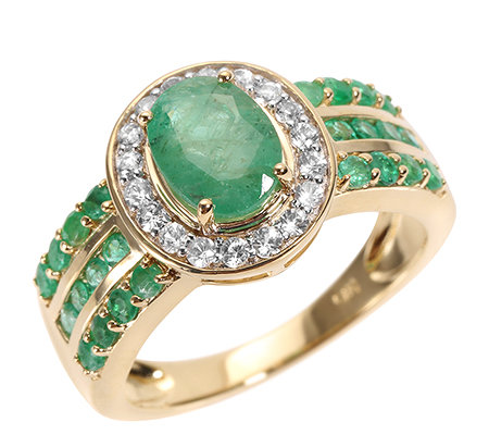 Smaragd 1,79ct Saphire 0,32ct Entourage-Ring Gold 585