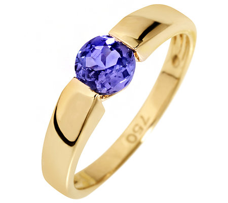 1st Class Tansanit AAA/0,60ct Spann-Optik Solitär-Ring Gold 750
