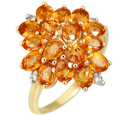 Mandarin Granat Schliffmix, 3,50ct. 4 Diamanten 0,06ct. Ring Gold 333