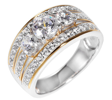 DIAMONIQUE® = 1,58ct Brillantschliff Cocktail-Ring Silber bicolor