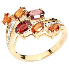 Multicolor Schliffmix mind. 1,93ct Croise-Ring Gold 375