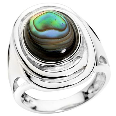 Abalone oval 10x14mm poliert Ring Silber 925