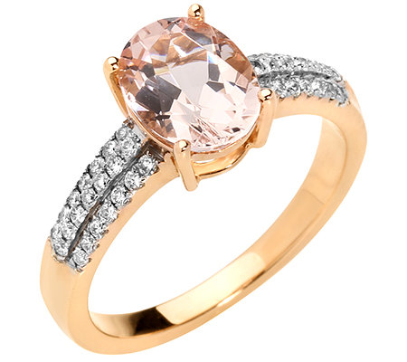 Morganit 1,40ct. Ovalschliff 42 Brillanten 0,09ct. Ring Gold 585