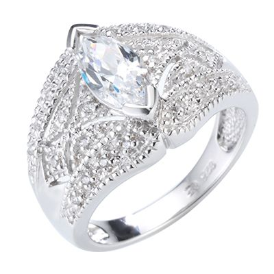 DIAMONIQUE® VINTAGE = 1,12ct Ring Silber rhodiniert
