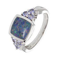 Boulder-Opal Triplette 2,50ct Tansanite 0,42ct Ring Silber rhodiniert