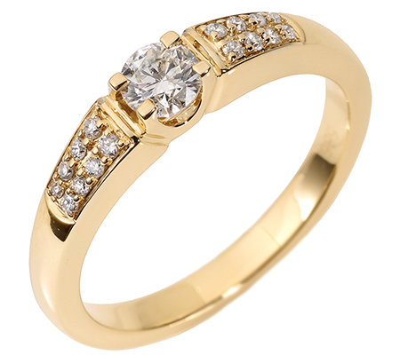 17 Brillanten zus.ca.0,35ct. Weiß/P1 Ring Gold 585