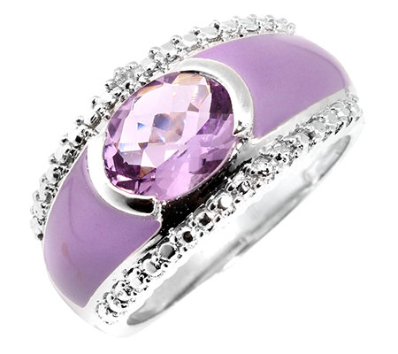 Pink Amethyst 1,64ct. Emaille-Ring Silber 925,rhodiniert