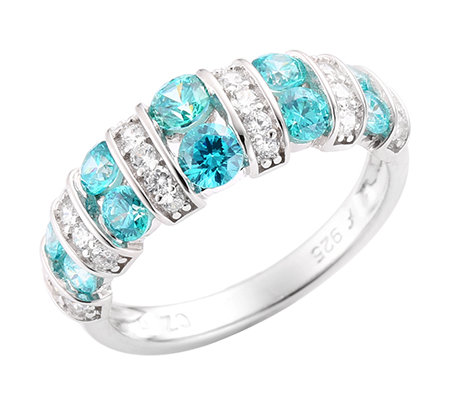 DIAMONIQUE® CARIBBEAN BLUE 34 Steine = 1,16ct. Ring Silber 925,rhodiniert